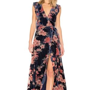 Yumi Kim Floral Velvet Maxi Dress XS